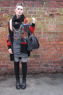 Thrift-store-dress-alexander-wang-bag-new-look-socks-pixie-jeffrey-campbel