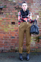 black ribbed Topshop scarf - Alexander Wang bag - vintage bodysuit - pixie Jeffr