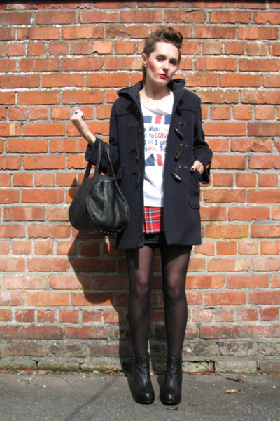 blue Gloverall jacket - white vintage t-shirt - red Miss Selfridge skirt - black