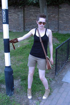 brown Polaroid Lookers accessories - black Topshop vest - brown Zara shorts - be