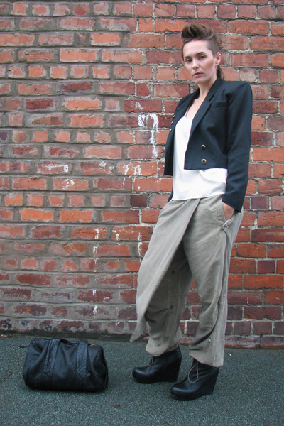 black vintage blazer - white French Connection vest - green Maharishi pants - bl
