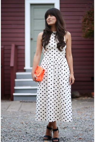 polka dot asos dress - neon bow Ibiss purse - studded Vince Camuto heels