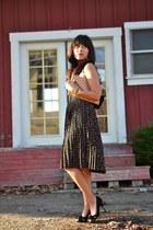 black thrifted skirt - nude JCrew purse - black Enzo Angollini heels