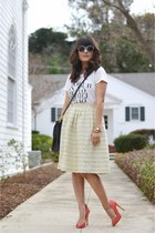 lime green vintage skirt - white JCrew shirt - black coach bag