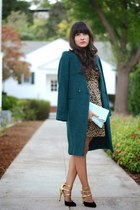 brown H&M dress - teal H&M coat - light blue Aldo purse