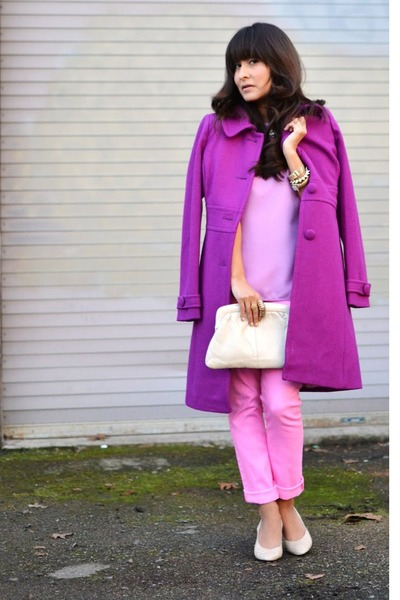 JCrew coat - vintage purse - Mossimo pants - H&M blouse - vintage heels