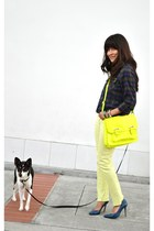 blue pumps - lime green Mossimo jeans - navy shirt - yellow Target purse