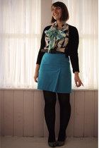 black como diffusion blouse - turquoise blue high waisted beechers brook skirt