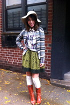 olive green Pringle of Scotland skirt - burnt orange vintage boots
