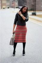 Missoni skirt - Christian Louboutin shoes - Danierleather jacket - MiuMiu bag