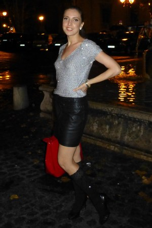 leather Morgan de Toi skirt - Calzedonia socks - Aldo heels - Zara blouse