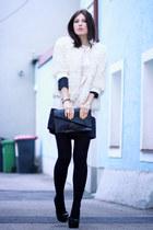fuzzy Zara coat - silk H&M dress - leather Zara purse
