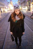heather gray glitter vintage boots - black elegant Zara coat