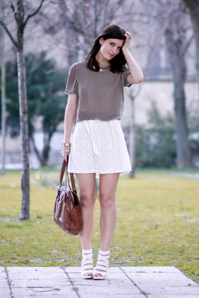 heather gray velvet Zara top - ivory lace All Saints dress