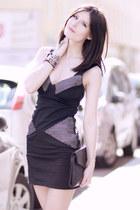 black denim Religion dress - black leather Zara bag