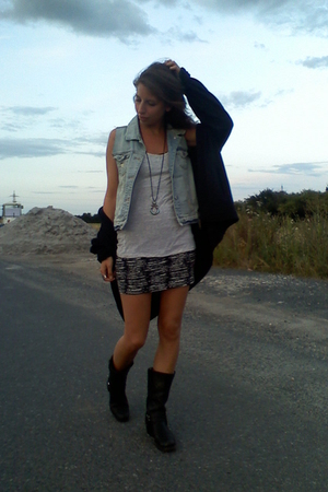 c&a jacket - Zara vest - H&M shirt - H&M dress - sancho boots