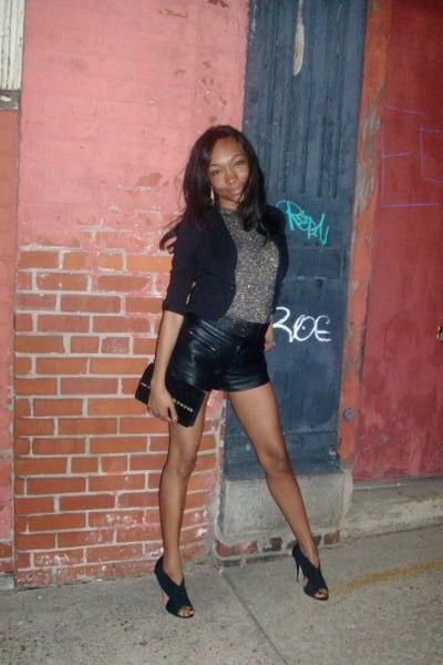 black blazer - black leather shorts