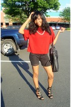 Forever21 blouse - shorts - shoes - necklace - purse