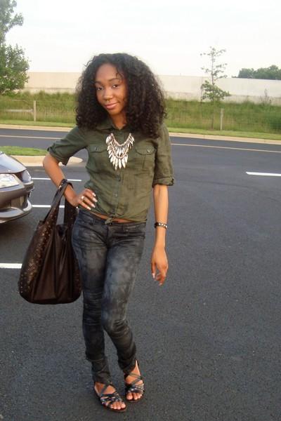 H&M shirt - necklace - jeans - Target shoes - purse