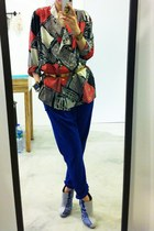 vintage blazer - DF pants - Kamae leon heels