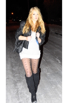 black Valentino jacket - black  boots - black Topshop tights