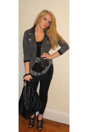 gray jacket - Republic top - black leggings - black shoes - black H&M accessorie