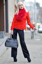 black sandro ferrone bag - red Forever 21 coat - red Promod scarf