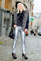 silver Zara pants - heather gray Forever 21 coat - black Guess bag