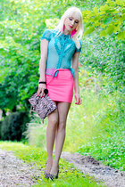 black karen millen bag - hot pink H&M skirt - aquamarine Zara top