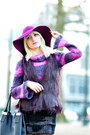 Black-verso-dress-magenta-promod-coat-magenta-h-m-hat-black-neuville-bag