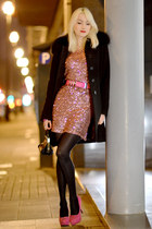 black Valentino shoes - bubble gum VERSO dress - black sandro ferrone coat