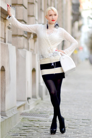 white Furla bag - black Forever 21 skirt