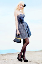 heather gray Lipsy dress - black Valentino shoes