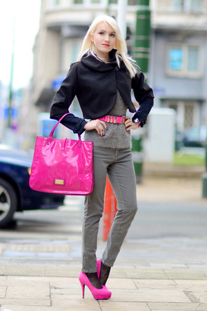 heather gray Zara pants - hot pink Valentino bag