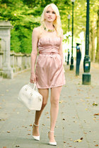 light pink OASAP dress - white Furla bag - gold Cartier Trinity ring