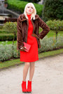 Red-sandro-ferrone-dress-brown-forever21-jacket