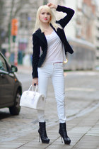 white Zara pants - black Valentino shoes