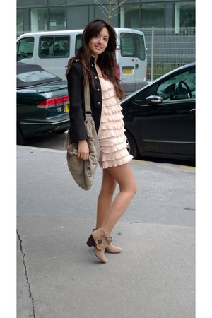 beige La Redoute boots - pink H&amp;M dress - black Zara jacket