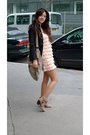 Pink-h-m-dress-beige-la-redoute-boots-black-zara-jacket-beige-pimkie-acces