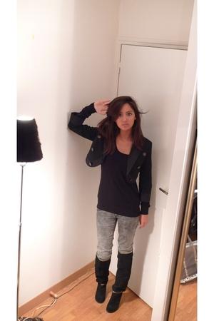black Mango boots - black Mango jacket - gray Zara jeans - black Zara shirt