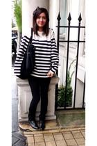 white Corto Maltese sweater - black Urban Outfitters pants - Vintage in Paris bo