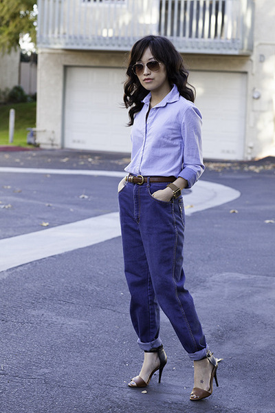 two tone shirt JCrew shirt - boyfriend jeans Vintage Thrifted jeans