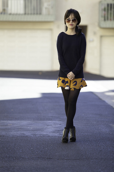 navy knit Target sweater - 31 Phillip Lim skirt