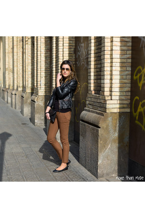 black Zara jacket - black Zara shirt - black Zara bag