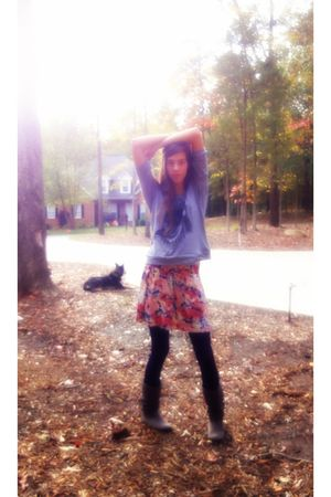 Forever 21 shirt - Forever21 skirt - blue Forever21 tights - Wetseal boots