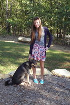 blue Urban Outfitters shoes - pink Forever21 skirt - blue Forever21 cardigan - g