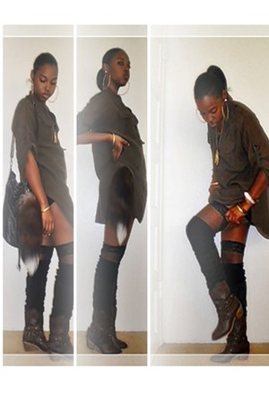 black tube Forever 21 dress - dark brown studded Love Culture boots
