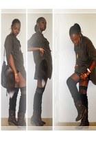 black tube Forever 21 dress - dark brown studded Love Culture boots