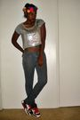 Gray-forever-21-shirt-pink-my-own-diy-accessories-beige-nike-shoes