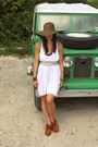 Brown-jcrew-hat-brown-vintage-accessories-white-madewell-dress-gray-vintag